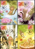 2015 - R.O. CHINA/Taiwan -Maximum Card-Year Of The Monkey (5 Pcs.) - Monkeys