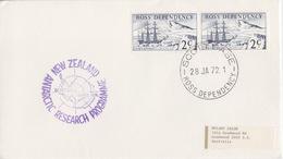 Polaire Néozélandais, N° 5 X 2 Obl. Scott-Base Le 28 JA 72 Pour L'Australie + Cachet Vanda Station - Dépendance De Ross (Nouvelle Zélande)