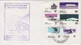Polaire Néozélandais, N° 9 à 14 Obl. Scott-Base Le 2 FE 73 + Cachet Research Programme (manchot Dvt Base) - Dépendance De Ross (Nouvelle Zélande)