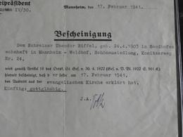 Bescheinigung Kirchen Austritt Mannheim 1941 - Other