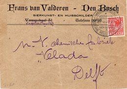 21 VI 27 Reclame-handstempel 's-HERTOGENBOSCH 3 Op Envelop Met Firmalogo Naar Delft - Marcophilie