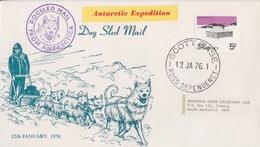 Polaire Néozélandais, N° 11 Obl. Scott-Base Le 12 JA 76 + Cachet Dogsled Mail (Env. Illustrée Chiens Et Traineau) - Dépendance De Ross (Nouvelle Zélande)