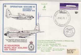 Polaire Néozélandais, N° 14 Obl. Scott-Base Le 4 DE 76 + Flight 5 Opération Icecube 12 + 3 Cachets Au Dos - Dépendance De Ross (Nouvelle Zélande)