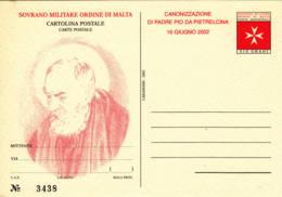 ORDRE DE MLALTE - 2002 - Entier Postal Neuf -  Saint Pie De Pietrelcina - Malte (Ordre De)