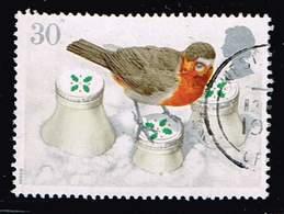 GB 1995,Michel# 1598 O European Robin (Erithacus Rubecula) On Snowcovered Milk Bott - 1952-.... (Elizabeth II)