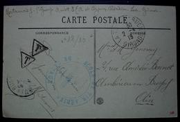 1918 Ecole De Tir Aérien De Cazaux, Carte Taxée Du Moulleau, Cad De La Teste De Bruch (Gironde) - Marcofilie (Brieven)