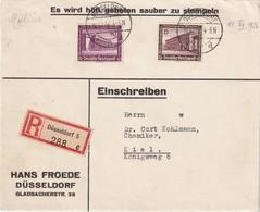 ALLEMAGNE 1938 LETTRE RECOMMANDEE DE DÜSSELDORF AVEC CACHET ARRIVEE KIEL - Covers & Documents
