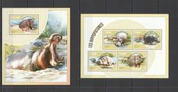 RR659 2014 NIGER FAUNA ANIMALS LES HIPPOPOTAMES 1KB+1BL MNH - Stamps