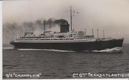 """PHOTO. - LE  """" CHAMPLAIN """" De La Cie Gle TRANSATLANTIQUE   (.8 X 13 Cm.) - Boats"""