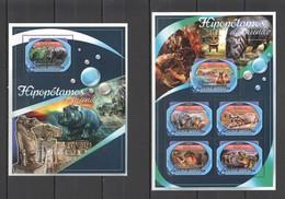 TT090 2016 GUINE GUINEA-BISSAU ANIMALS HIPPOPOTAMES 1KB+1BL MNH - Stamps