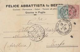 Gravina Di Puglia. 1919. Annullo Grande Cerchio Su Cartolina Postale PUBBLICITARIA .... CUOIAMI - FERRARECCE -  ... - 1900-44 Victor Emmanuel III