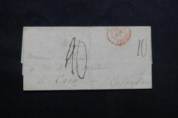 FRANCE - Cachet Rouge D'entrée Par Calais Sur Lettre Pour Caen En 1860, Voir Cachets Au Dos - L 60355 - Marcophilie (Lettres)