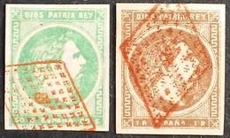 España: Año. 1875 - Correo Carlista, ( Carlos VII. 2/Val. Lujo, C.P.T.A. Matasellos Rombos, En Rojo ) - Carlistes
