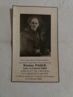 (U2) Souvenir Pieux : Meur Nicolas Paque , Décédé En Captivité à Görlitz (Allemagne) Le 13 Février 1942. - Décès