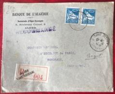 Algérie - Lettre Recommandée - TAD ALGER CHARGEMENT 1932 Pour Bordeaux - (B3388) - Briefe U. Dokumente