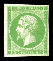 * N°8, 5c Vert-jaune. TTB (signé Brun/certificat)  Qualité: *  Cote: 1100 Euros - Napoléon III