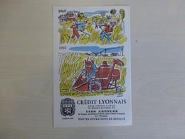 Moissonneuse-batteuse 1955, Crédit Lyonnais, Illustrateur Hervé Baille, Ref 1761 ; BU 03 - Automóviles