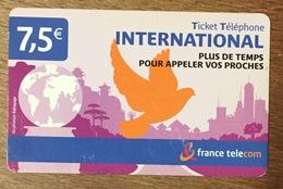 INTERNATIONAL TICKET TELEPHONE 7,5 EURO EXP 28/02/2008 CARTE TÉLÉPHONIQUE PHONECARD PAS TELECARTE - FT