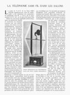 LE TELEPHONE SANS FIL Dans Les SALONS  1922 - Ciencia & Tecnología