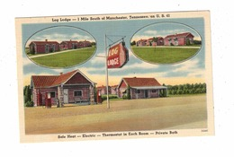 MANCHESTER, Tennessee, USA, Log Lodge Cabins & Service Station, Old Linen Postcard - Autres