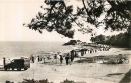 ILE DE NOIRMOUTIER VUE SUR LA PLAGE DES DAMES  ET VIEILLE AUTOMOBILE CPSM DENTELEE - Ile De Noirmoutier