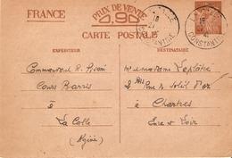 CARTE POSTALE ENTIER INTERZONE 0.90 IRIS CACHET DE LA CALLE CONSTANTINE ALGERIE POUR CHARTRES 1941 - Postal Stamped Stationery