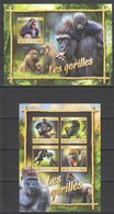 RR379 2016 GUINEE GUINEA ANIMALS GORILLAS 1KB+1BL MNH - Gorilles