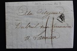 1794 LAC PARIS 28 BRUMAIRE AN III ( 18 Novembre 1794) POUR LANNION MARQUE P DANS UN TRIANGLE MARQUE MANUSCRITE.. - Postmark Collection (Covers)