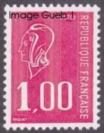 France Marianne De Bequet N° 1892 ** Le 1f00 Rouge - 1971-76 Marianne De Béquet