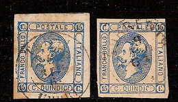 (Fb).Regno.V.E.II.1863.15c Azzurro.I° Tipo E II° Tipo Usati (46-20) - 1861-78 Victor Emmanuel II