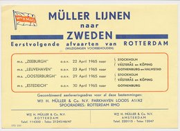 Meter Card Netherlands 1965 Shipping Company Muller And Co. - Rotterdam - Sweden - Schiffe