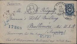 Entier Russie Bleu 14K Recommandé R Pointillé Pr USA Baltimore CAD Oaecca 27 AMP 1885 Transit New York - 1857-1916 Empire