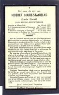 Moeder Rarie-Stanislas (Lucie Cneut) Geb. Te Moorslede 1859 En Overl. Te Eernegem 1962 (102 Jaar) - Devotieprenten