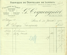 """Paris Facture 1922 """" Fabrique De Dentelles De Luxeuil , Chemins De Table, Napperons """" - Textilos & Vestidos"""