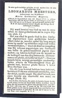 Leonardus Meesters Geb. Te Eygenbilsen 1796 En Overl. Aldaar 1896 - 100 Jaar En 2 Dagen - Devotieprenten