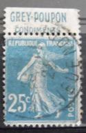France N° 140 Oblitéré. Timbre De Carnet. Bande Publicitaire Publicité Pub. - Advertising