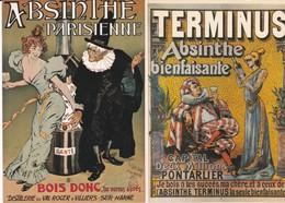 """Lot 2 Cpm 10x15 Pub ABSINTHE  :1/ Marque """"TERMINUS """"  2/ 3Marque PARISIENNE 3 - Pubblicitari"""