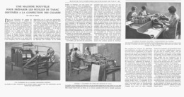"""MACHINE POUR PREPARER LES FEUILLES De TABAC  DESTINEES  A La FABRICATION Des """" CIGARES """" 1924 - Tobacco (related)"""