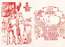 Lot 2 Cpm 10x15  ALBANIA  (Albanie )   1/ Avec Le P.T.A 1977   2/ Alliance Des Ouvriers Et Des Paysans 1976 - Politics