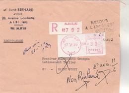 Griffe RETOUR ENVOYEUR SAINT JUERY Tarn N° 6302 Sur Lettre Recommandée EMA ALBI 27/5/1970 - Marcophilie (Lettres)