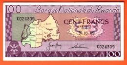 RWANDA - Billet 100 Francs 31 10 1969  Pick 8a - Ruanda
