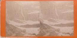 Carte STEREOSCOPIQUE LOURDES . Cascade De Gavarnie (Sur Carton Rigide 8,5 X 18 Photo P. VIRON Lourdes) - Cartoline Stereoscopiche
