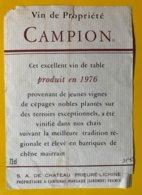 13895 - Vin De Propriété Campion 1976 Sa Du Château Prieuré-Lichine - Bordeaux