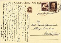 Intero Postale Imperiale Cent. 30 + Cent. 50 Posta Aerea Per Rodi ( Egeo ) - 1900-44 Victor Emmanuel III