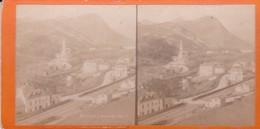 Carte STEREOSCOPIQUE LOURDES . Basilique Route De Pau (Sur Carton Rigide 8,5 X 18 Photo P. VIRON Lourdes) - Cartoline Stereoscopiche