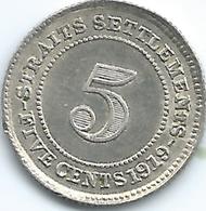 Straits Settlements - 1919 - George V -5 Cents - KM31 - Kolonies