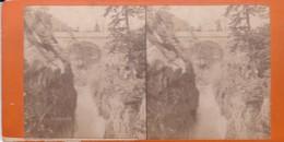 Carte STEREOSCOPIQUE LOURDES . Pont D'Espagne   (Sur Carton Rigide 8,5 X 18 Photo P. VIRON Lourdes) - Cartoline Stereoscopiche