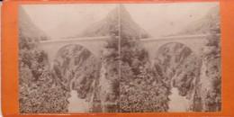 Carte STEREOSCOPIQUE LOURDES . Pont Napoléon    (Sur Carton Rigide 8,5 X 18 Photo P. VIRON Lourdes) - Cartoline Stereoscopiche