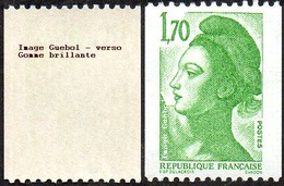France Liberté De Gandon N° 2321 B ** Le 1f70 Vert - Roulette Verso Gomme Brillante - 1982-90 Liberté De Gandon