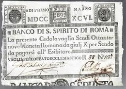 Banco Di Santo Spirito Di Roma 89 Scudi 01 03 1796 Ottimo Esemplare Fori Sulla Firma Spl Lotto.1550 - [ 9] Collezioni